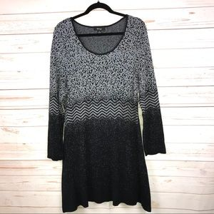 Style & Co Mix Print Sweater Skater Style Dress 2X